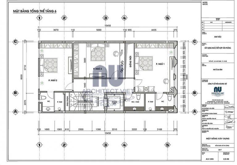 Bố tri mặt bằng công năng tầng 5 nhà phố 8×14,5m 6 tầng tân cổ điển đẹp kết hợp kinh doanh