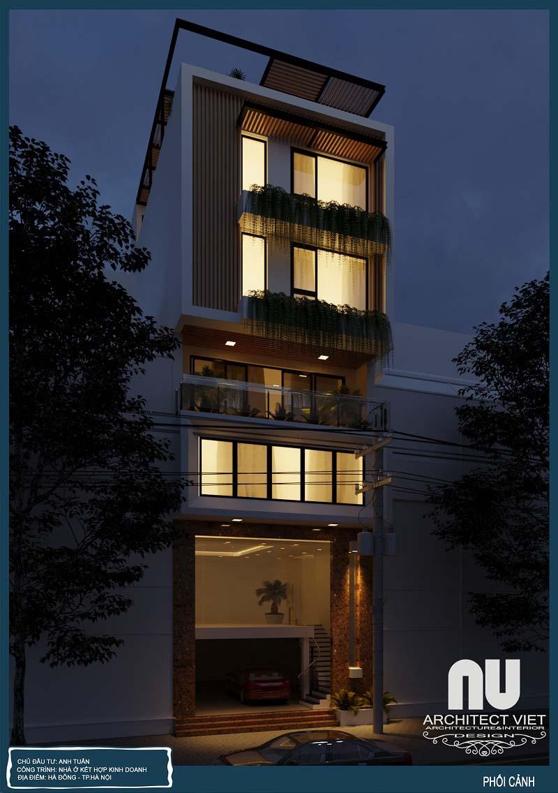 nhà phố hiện đại 7x10m về đêm