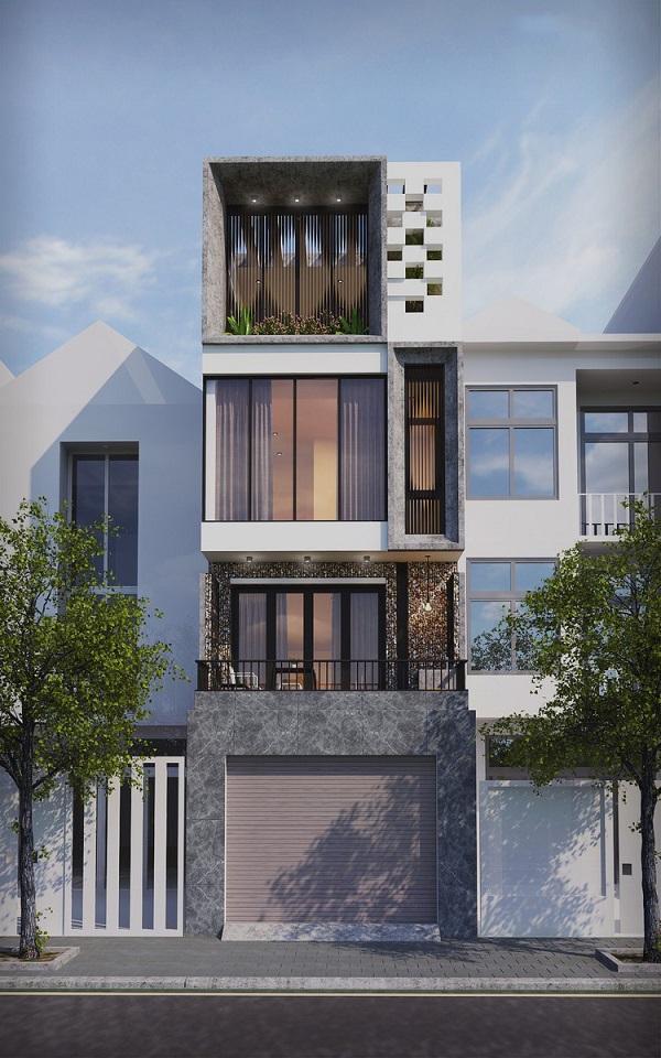 Ngoại thất tráng lệ, hiện đại của thiết kế nhà phố lệch 3 tầng 70m2