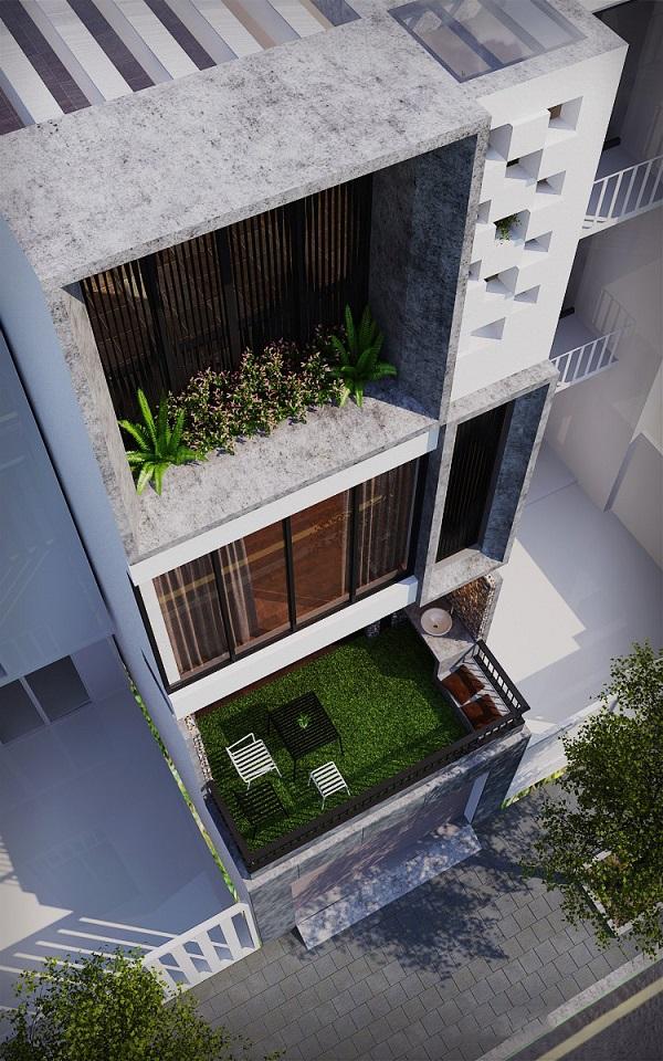 Phối cảnh của nhà phố 3 tầng lệch