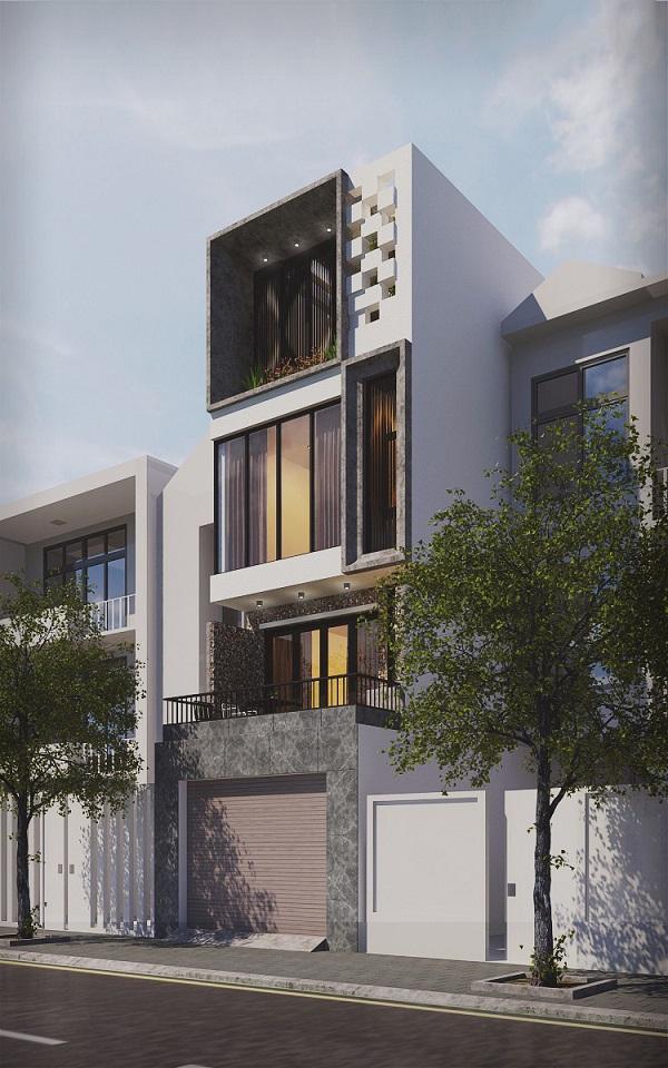phối cảnh góc nghiêng thiết kế nhà phố lệch 3 tầng