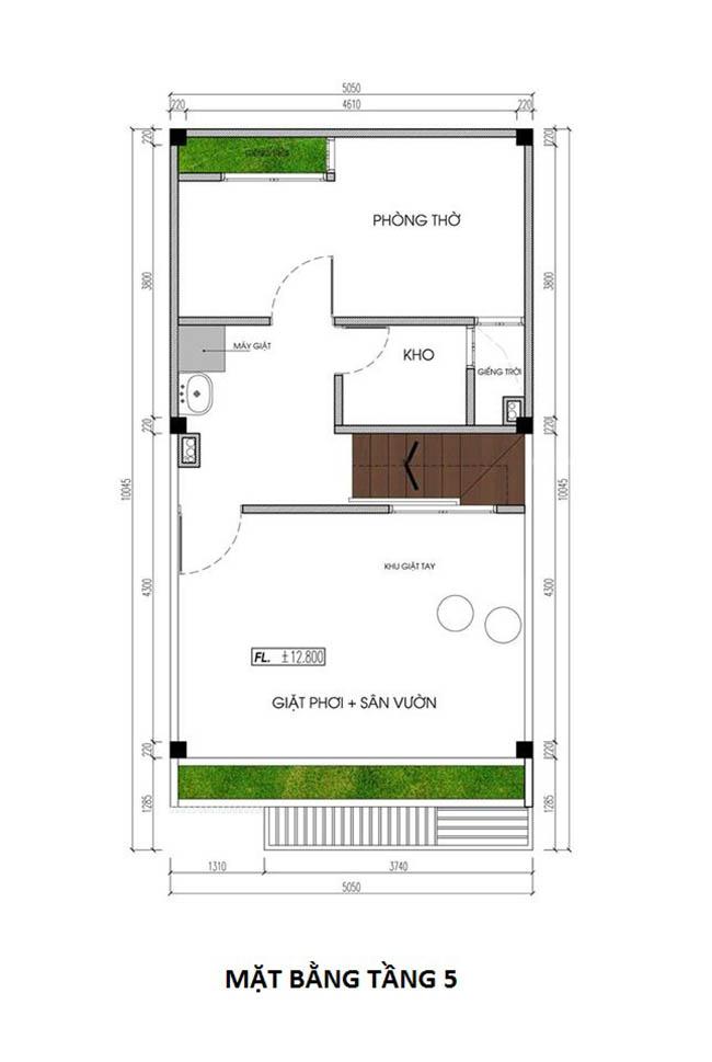 cách bố trí công năng tầng 2 mẫu nhà phố hiện đại 5x10m