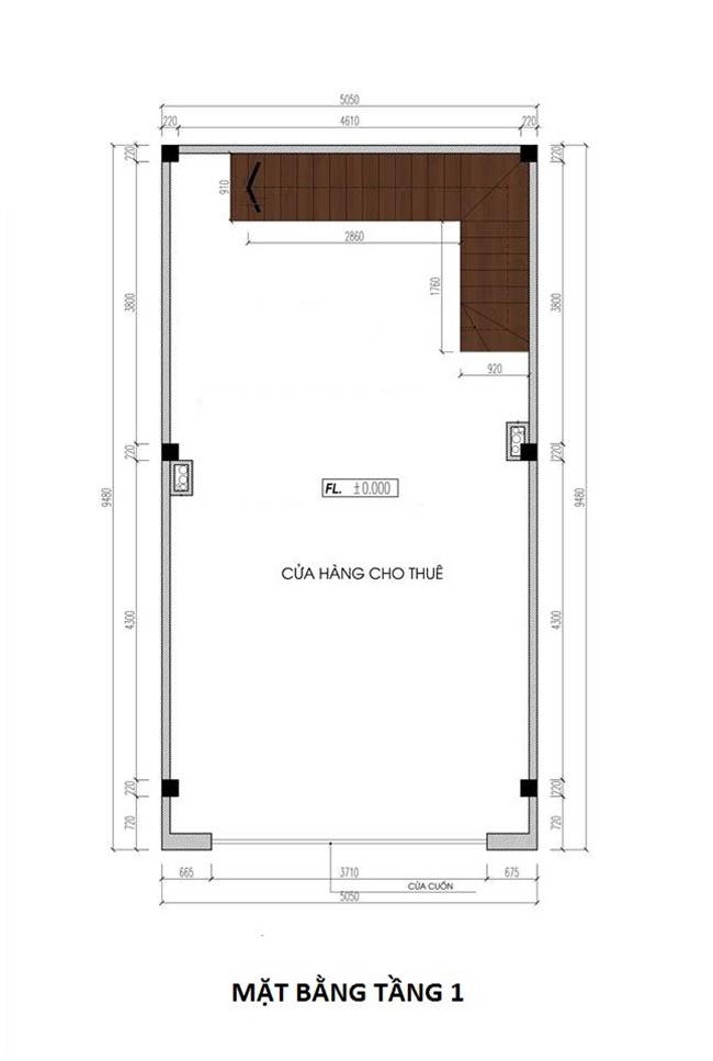 mặt bằng tầng 1 nhà phố 4.5 tầng rộng 5m dài 10m