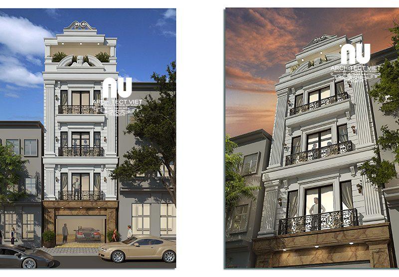 Mẫu nhà phố mặt tiền 5m phong cách tân cổ điển