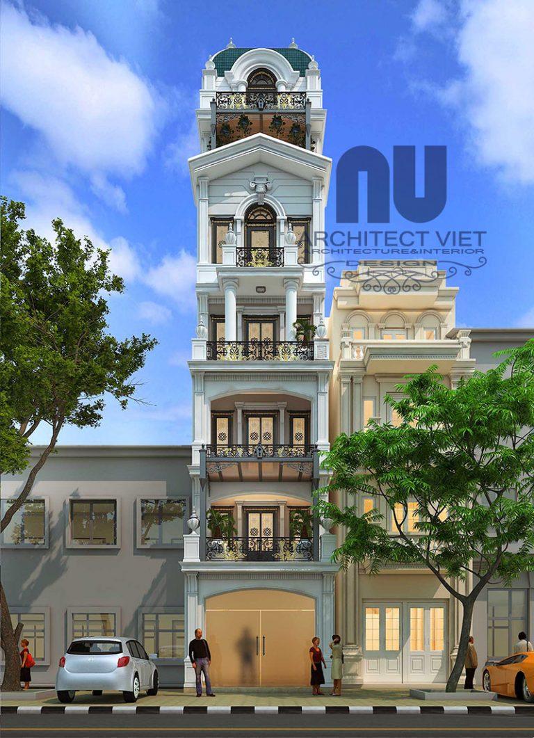 Mẫu nhà phố mặt tiền 5m 6.5 tầng tân cổ điển