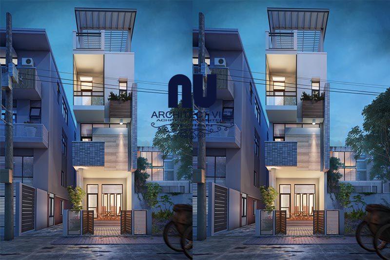 Mẫu nhà phố mặt tiền 5m 3 tầng phong cách hiện đại
