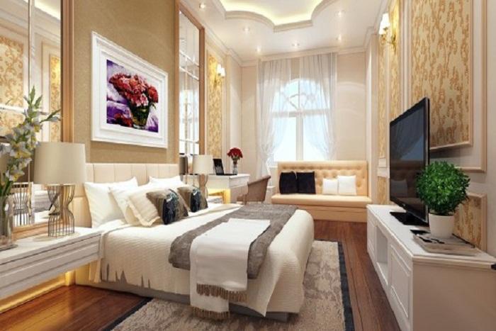 Phòng ngủ cực kỳ sang trọng của mẫu nhà phố 5 tầng tân cổ điển