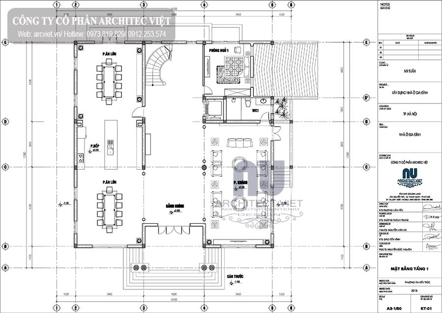 thiết kế biệt thự tân cổ điển 340m2