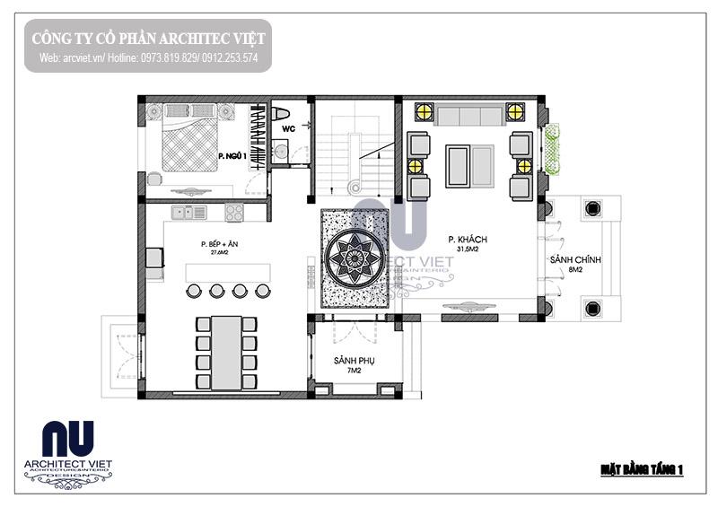 thiết kế biệt thự 3 tầng 150m2 kiểu Pháp