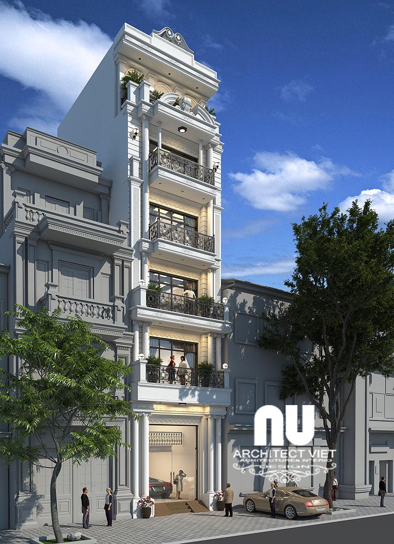 Góc nhìn nghiêng của ngôi nhà phố mặt tiền 5m