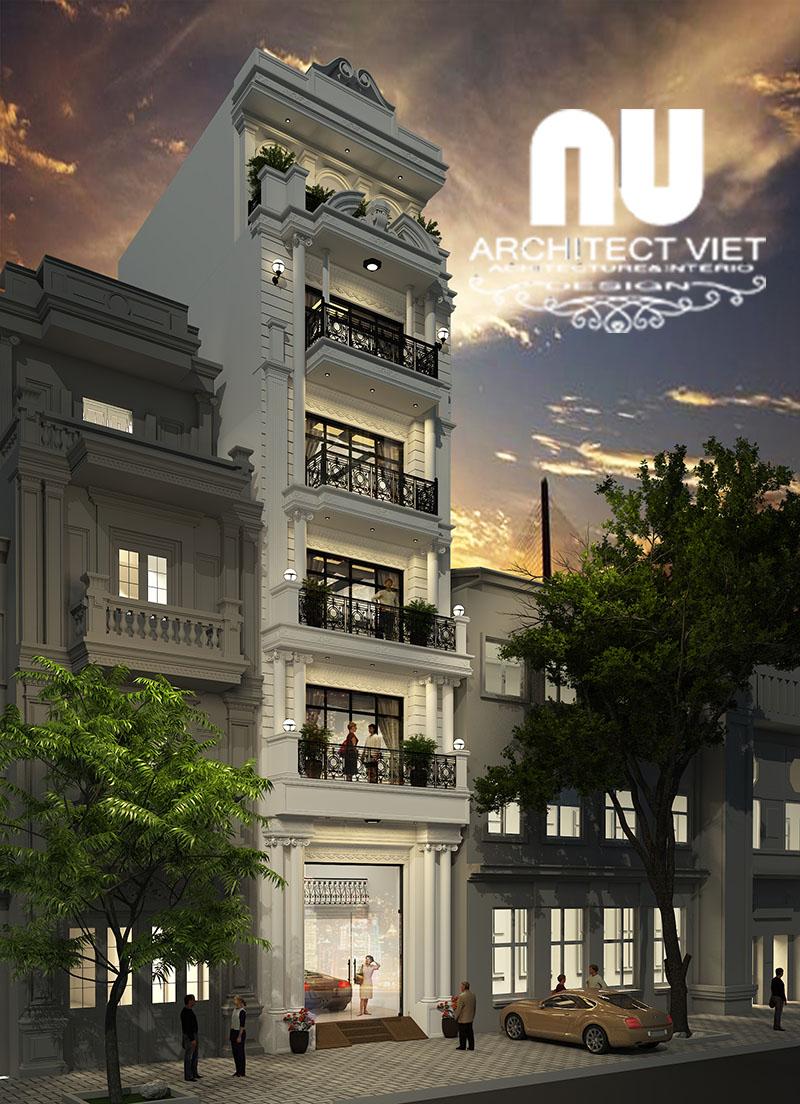 Hình ảnh mẫu nhà phố mặt tiền 5m lúc hoàng hôn