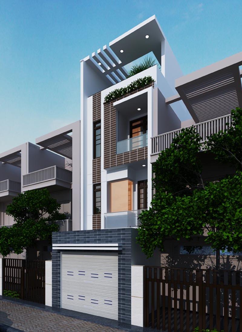 Thiết kế nhà phố 4 tầng 4x16m với ngoại thất tráng lệ