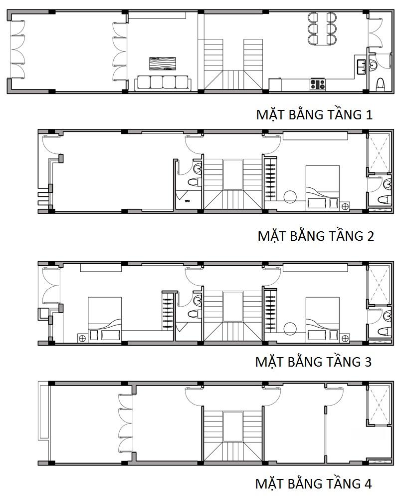 Bố trí công năng cho thiết kế mẫu nhà phố 4 tầng 4x16m
