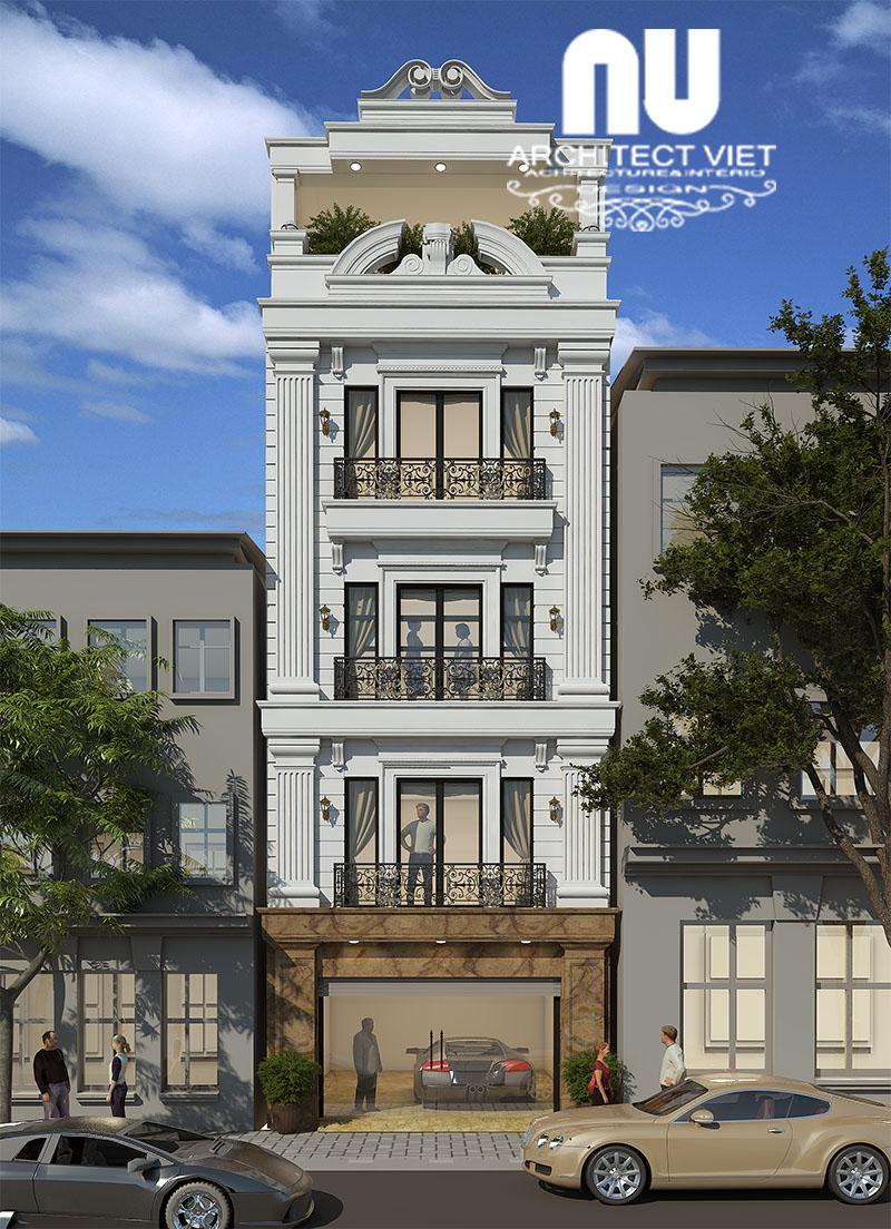 Ý tưởng thiết kế mẫu nhà phố 4 tầng 1 tum phong cách tân cổ điển