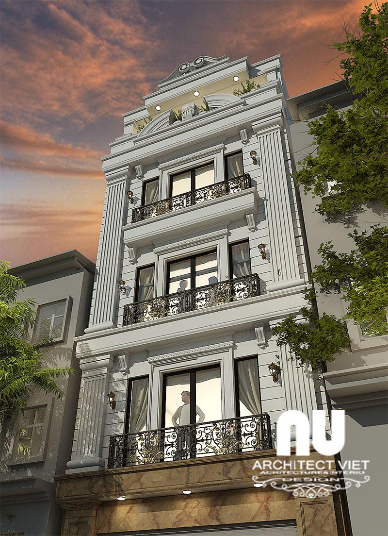 Mẫu nhà phố 4 tầng 1 tum với ngoại thất sang trọng, hiện đại