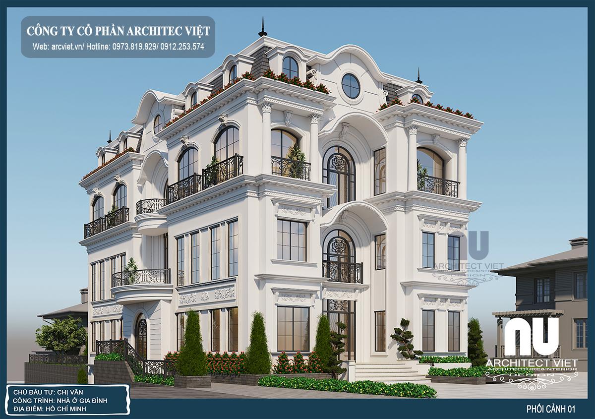 thiết kế biệt thự 4 tầng 220m2