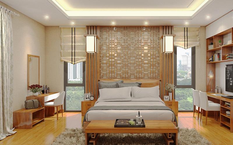 Nội thất phòng ngủ bố mẹ của nhà phố 2 tầng mặt tiền 8m