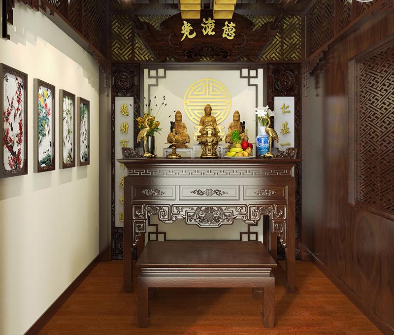 Nội thất phòng thờ của mẫu nhà phố 8m mặt tiền 2 tầng
