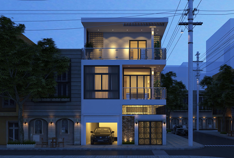 Mặt tiền nhà phố 2 tầng 8m về đêm