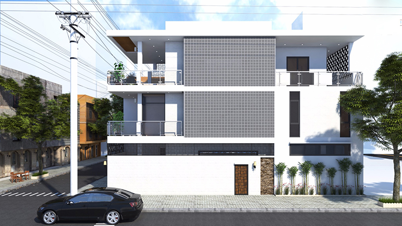 Mặt bên mẫu nhà phố 2 tầng mặt tiền 8m hiện đại