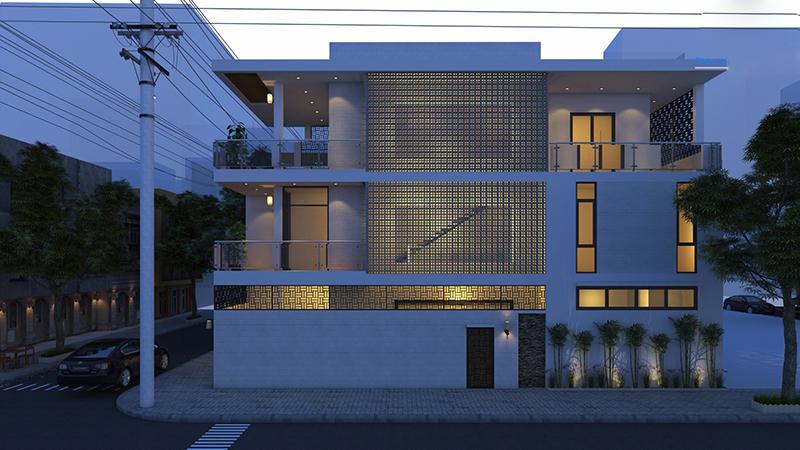 Mặt bên nhà phố 8m mặt tiền 2 tầng về ban đêm
