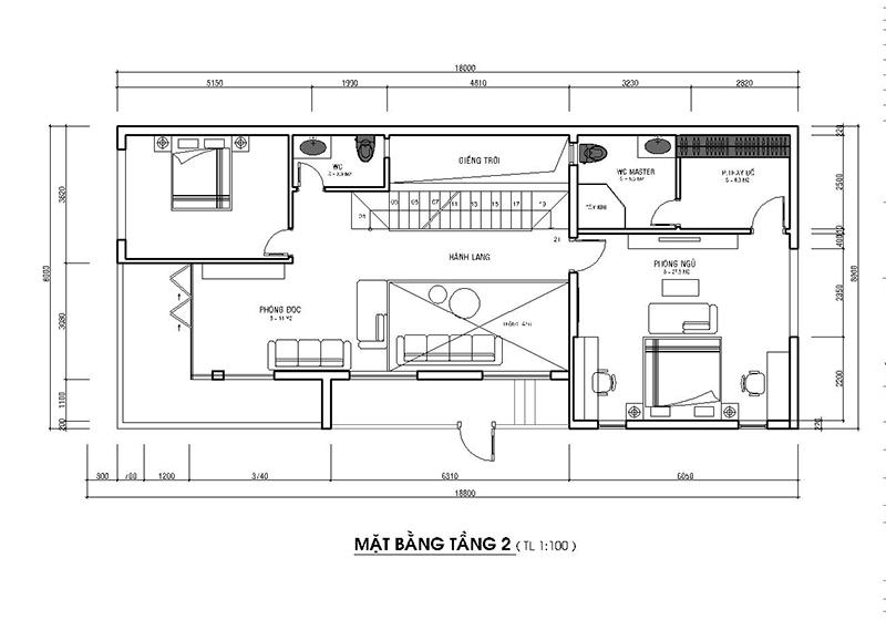 Mặt bằng tầng 2 nhà phố mặt tiền 8m