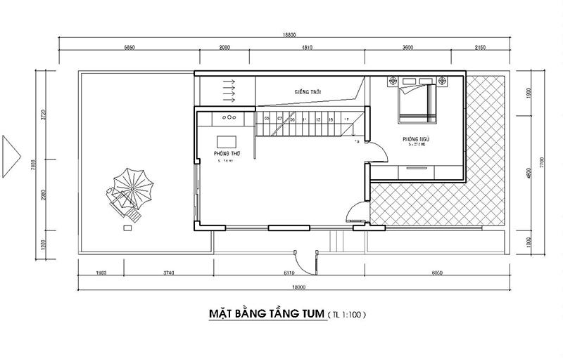 Mặt bằng tầng tum nhà phố mặt tiền 8m 2 tầng