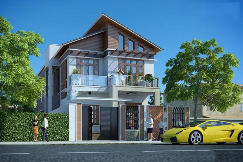 thiết kế nhà phố 2 tầng 1 tum 120m2