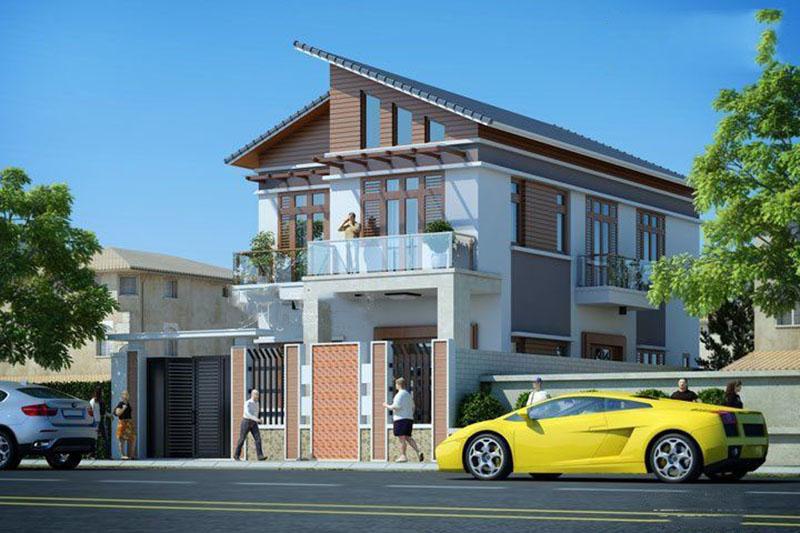 thiết kế mẫu nhà phố 2,5 tầng 120m2 phong cách hiện đại