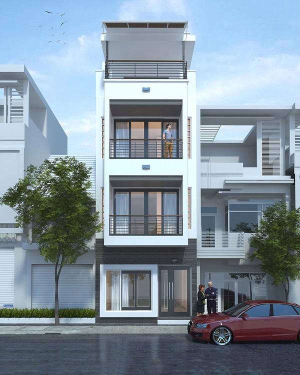 Hình ảnh 3D phối cảnh mặt tiền căn nhà phố 3 tầng 1 tum mặt tiền 5m