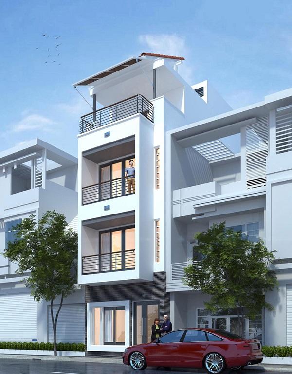 ngoại thất tráng lệ của mẫu nhà phố 3,5 tầng mặt tiền 5m