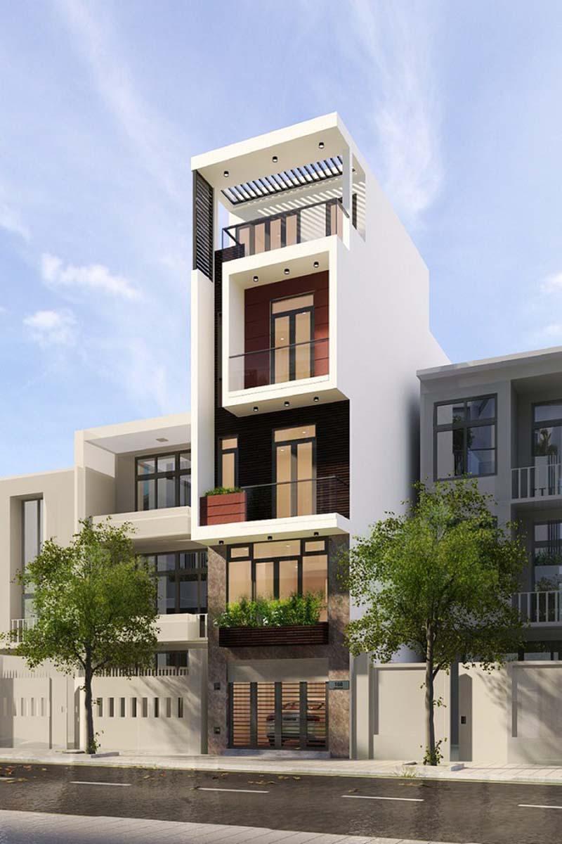 mẫu nhà phố 4 tầng 50m2 theo yêu cầu của gia chủ