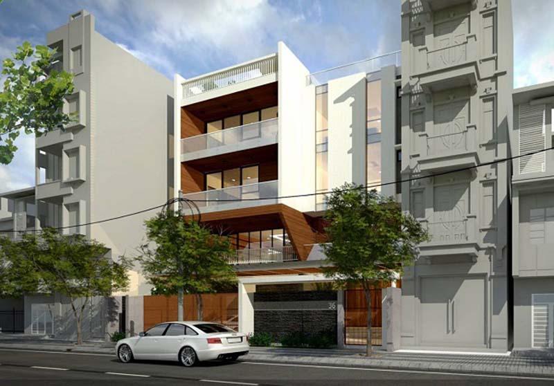 Bản vẽ phối cảnh nhà phố nhà phố 4 tầng 1 tum 60m2