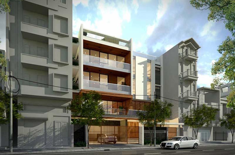 Thiết kế nhà phố 4,5 tầng 60m2 đơn giản, tinh tế