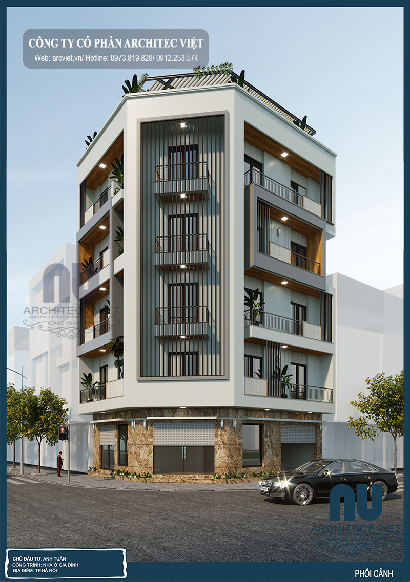 thiết kế nhà phố 5 tầng 2 mặt tiền 90m2