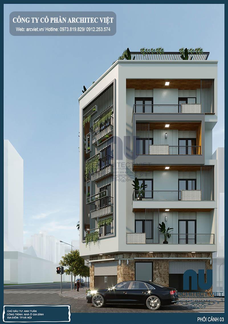thiết kế nhà phố 5 tầng với ngoại thất sang trọng