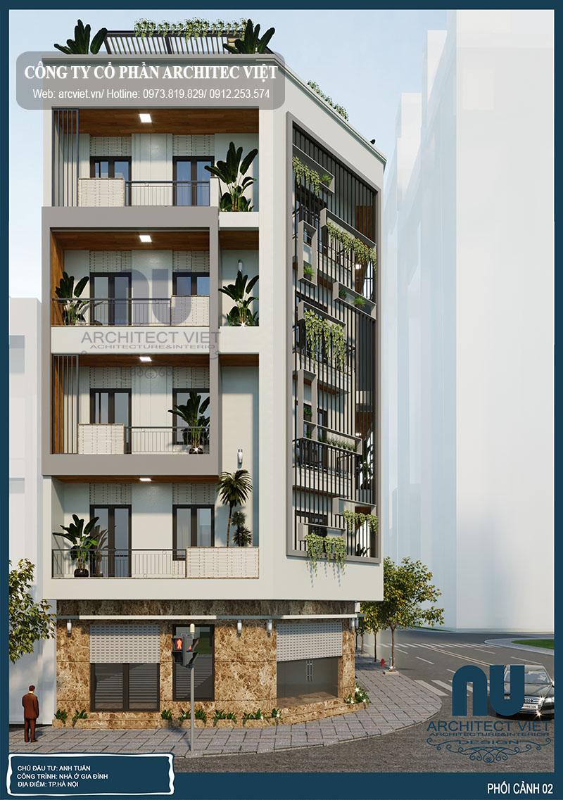 ngoại thất sang trọng nhà phố 5 tầng 90m2 kết hợp kinh doanh