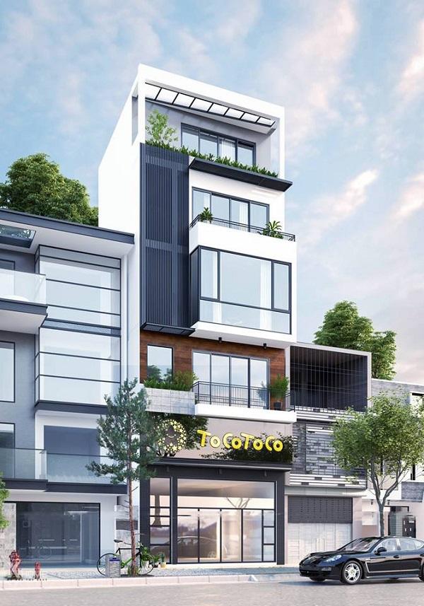 toàn cảnh bản vẽ 3D căn nhà phố hiện đại mặt tiền 6m