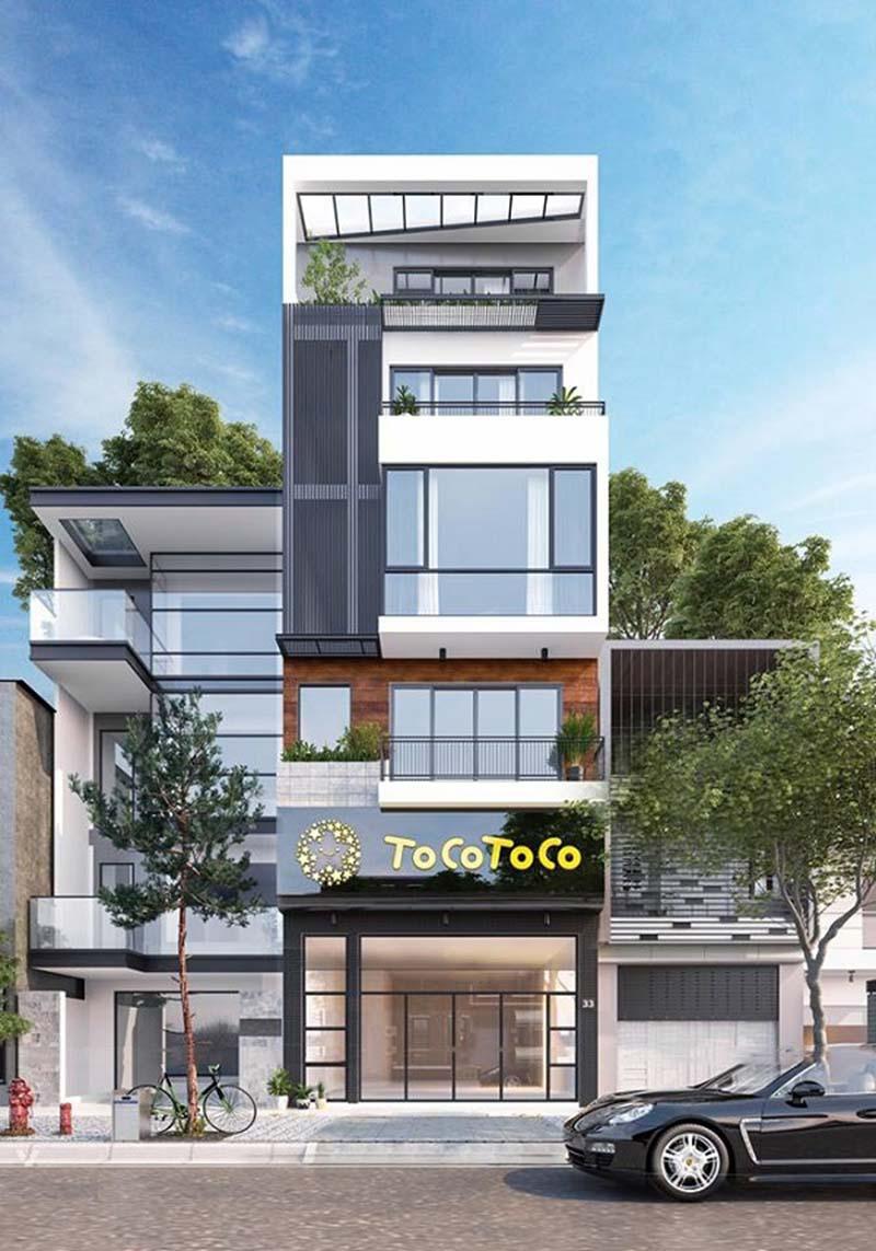 Ngoại cảnh diễm lệ của nhà phố 5 tầng mặt tiền 6,5m