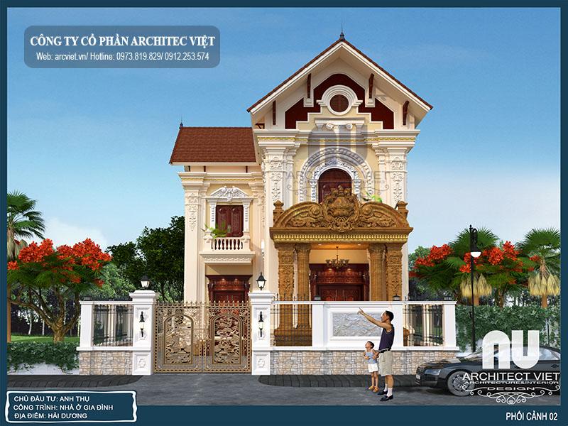 hình ảnh mặt tiền biệt thự 2 tầng cổ điển mặt tiền 9m chữ l