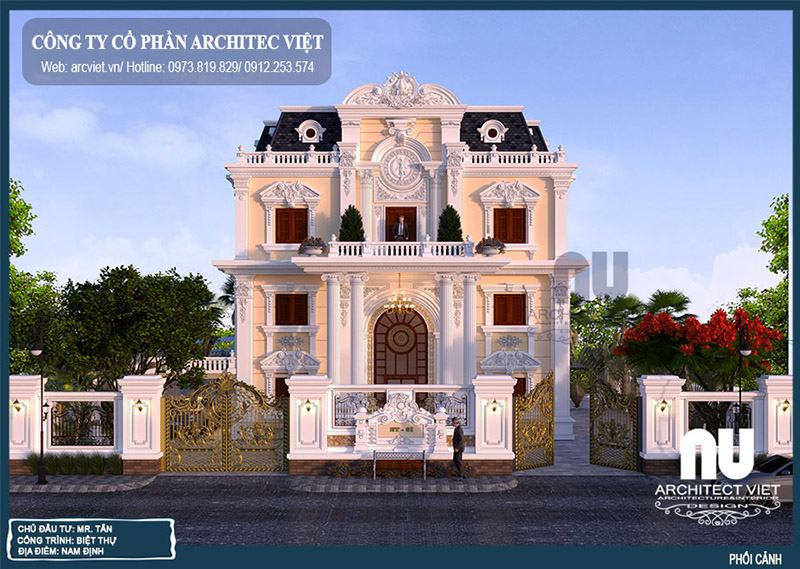 kiến trúc mặt tiền biệt thự tân cổ điển 3 tầng 220m2