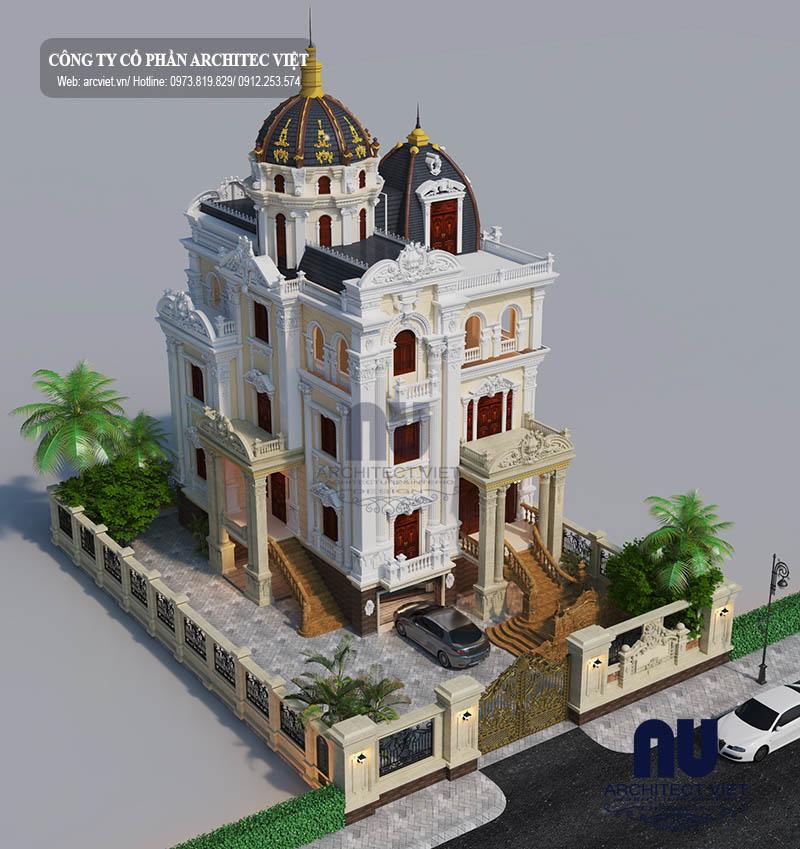 thiết kế biệt thự cổ điển 3 tầng 180m2