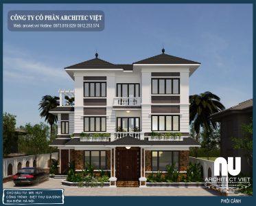 Bản vẽ thiết kế biệt thự hiện đại 3 tầng