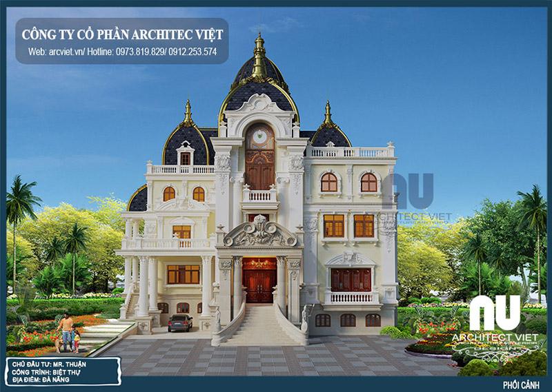 hình ảnh biệt thự cổ điển 3 tầng 364m2
