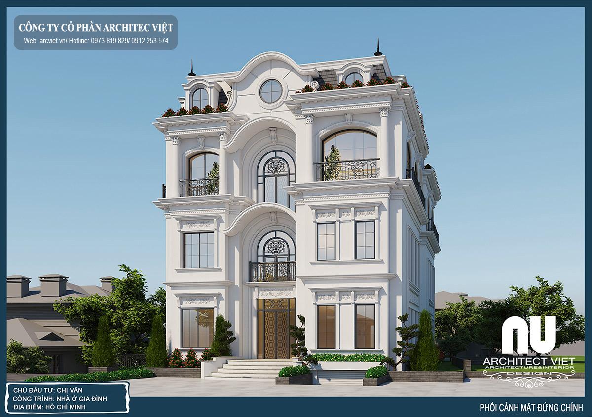 biệt thự tân cổ điển 4 tầng
