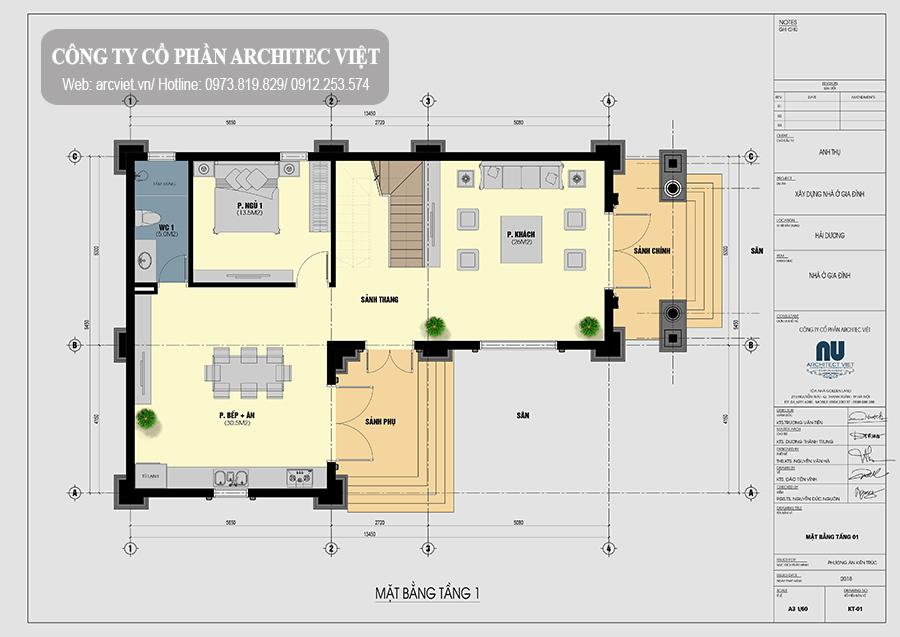 bản vẽ mặt bằng tầng 1 biệt thự cổ điển 2 tầng ngang 9m