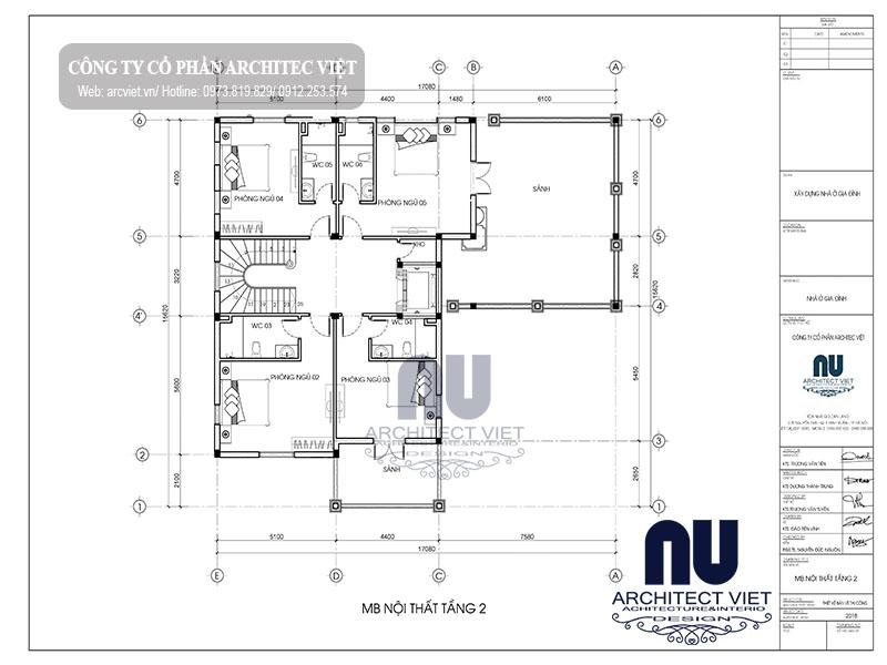 bố trí mặt công năng tầng 2 của biệt thự 3 tầng cổ điển 270m2