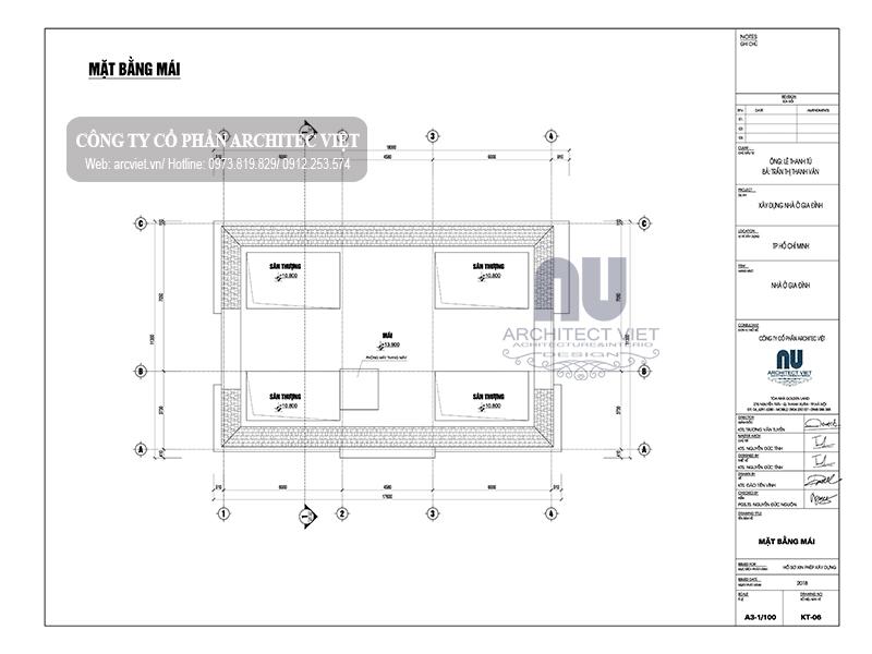 bản vẽ mặt bằng tầng mái biệt thự 4 tầng 19x12m