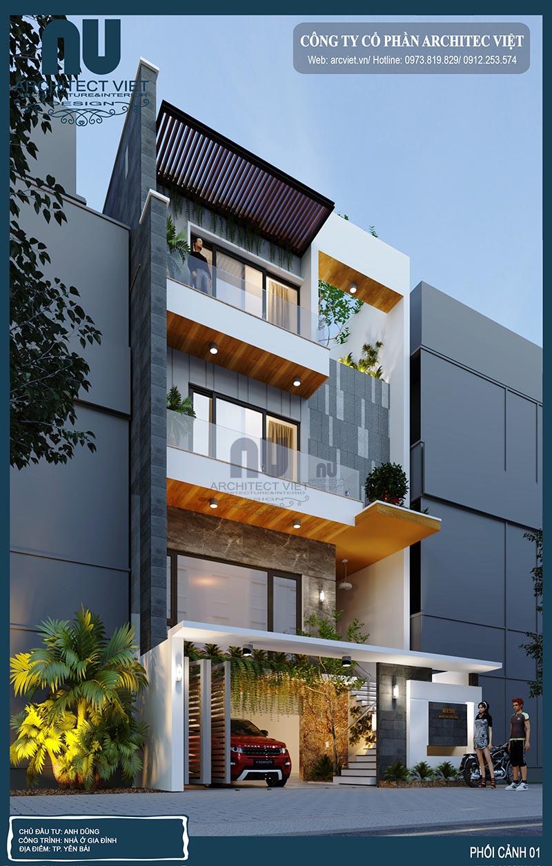 hình ảnh góc nghiêng nhà phố 4 tầng hiện đại 8x20m