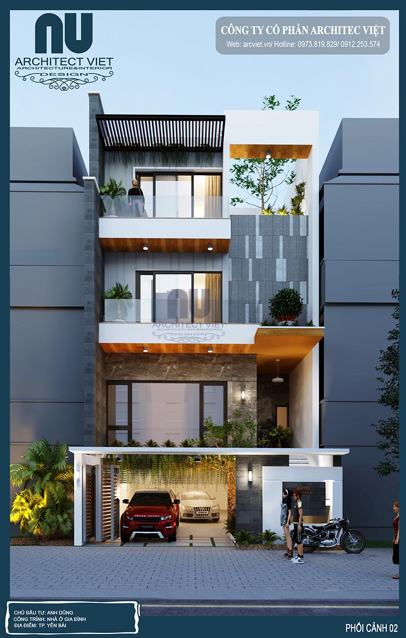 mặt tiền nhà phố hiện đại 4 tầng 8x20m